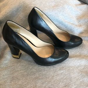 Nine West Black Pumps with Gold Accent Heel